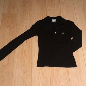 Lacoste Black Long Sleeved Polo